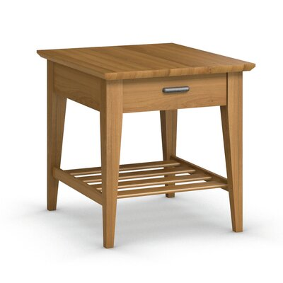 Currents Collection End Table With Drawer Color: Praline