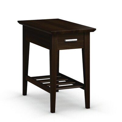 Currents Collection Chairside Table With Drawer Color: Coffee