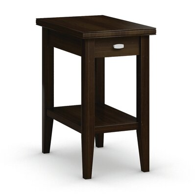 Bowery Chairside Table with Drawer Color: Coffee