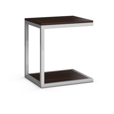 Circuit End Table Table Base Color: Silver, Table Top Color: Coffee