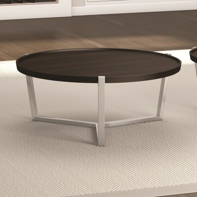 Cirque Coffee Table with Tray Top Color: Coffee