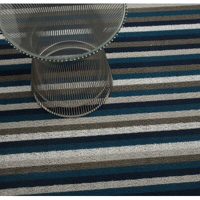 Shag Even Stripe Doormat Rug Size: Rectangle 16 x 24, Color: Marine