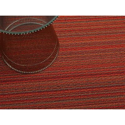 Skinny Stripe Shag Doormat Rug Size: 3 x 5, Color: Orange
