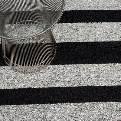 Bold Stripe Shag Doormat Mat Size: 16 x 24, Color: Black & White