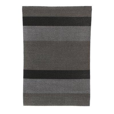 Bold Stripe Shag Doormat Color: Silver & Black, Size: 24 x 36
