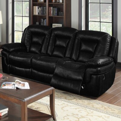 Dominic Reclining Sofa Upholstery: Black