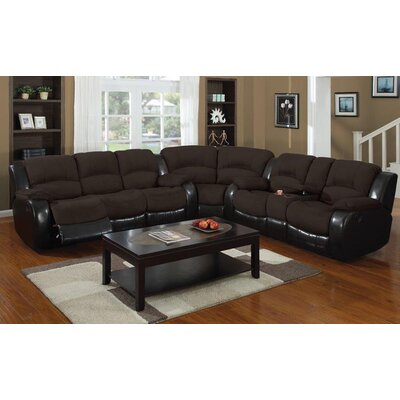 Asher Reclining Sofa Upholstery: Brown/Cappuccino