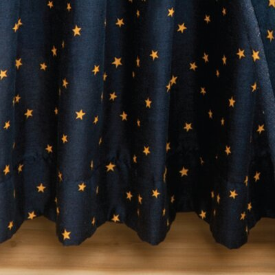 Navy Star Gathered Cotton Bed Skirt Size: Queen