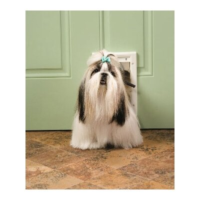7-5/8 x 11-1/8 Small White Plastic Pet Door Size: Small