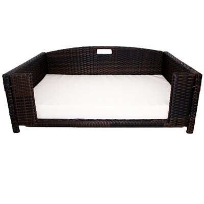 Rattan Rectangular Dog Sofa Size: Small (25 L x 20 W)