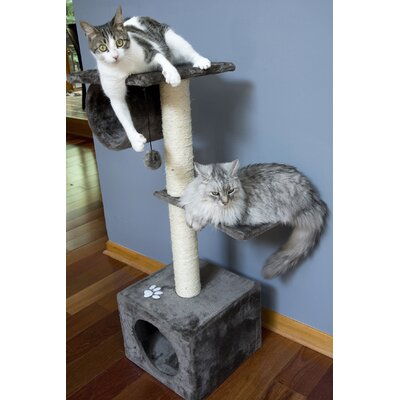 42 Three Level Cat Tree Condo Color: Gray