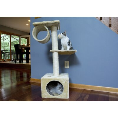 42 Three Level Cat Tree Condo Color: Beige