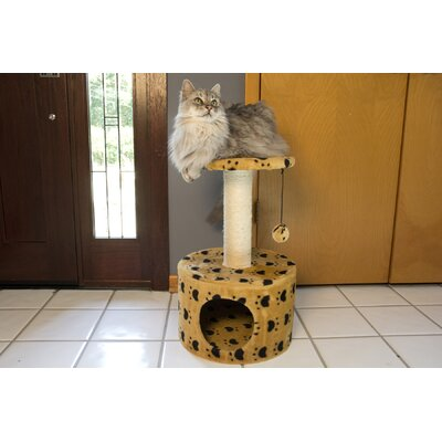 24 Paw Print Sisal Cat Tree Color: Beige