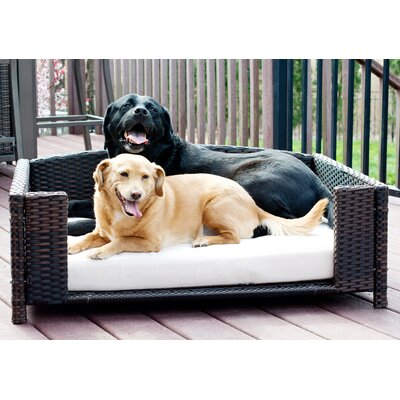 Carolyn Rattan Rectangular Dog Sofa Size: Large (38.5 L x 26.5 W)