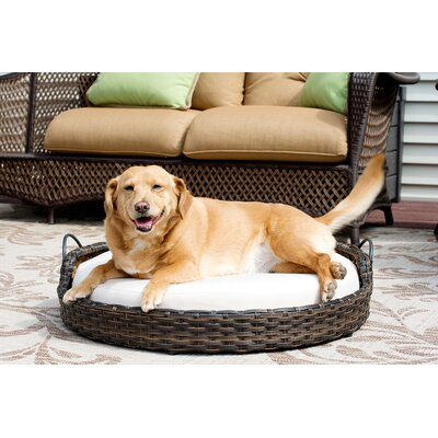 Rattan Round Dog Sofa Size: Medium (28 L x 28 W)