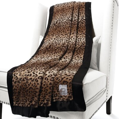 Luxe Leopard Faux Fur Fabric Throw Size: 88 H x 59 W