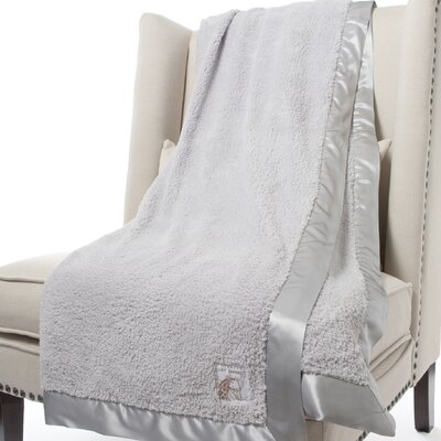 Chenille Solid Fabric Throw Color: Silver, Size: 88 H x 59 W