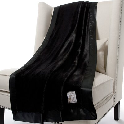 Luxe Solid Faux Fur Fabric Throw Color: Onyx, Size: 59 H x 45 W