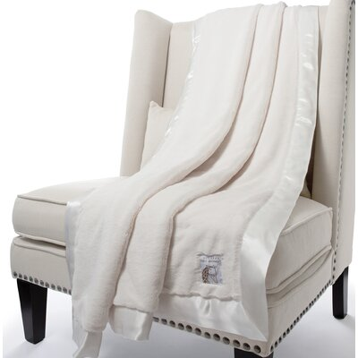Luxe Solid Faux Fur Fabric Throw Size: 88 H x 59 W, Color: Cream