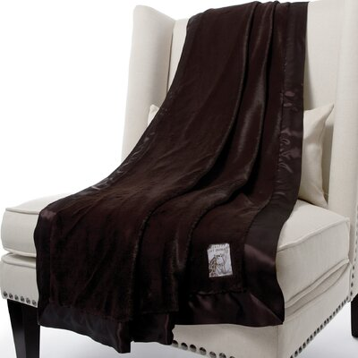 Luxe Solid Faux Fur Fabric Throw Size: 59 H x 45 W, Color: Chocolate