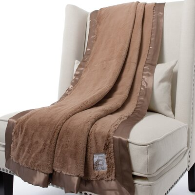 Luxe Solid Faux Fur Fabric Throw Size: 59 H x 45 W, Color: Mocha