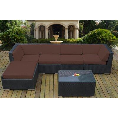 Ohana 6 Piece Deep Seating Group with Cushion Fabric: Subrella Bay Brown, Finish: Black