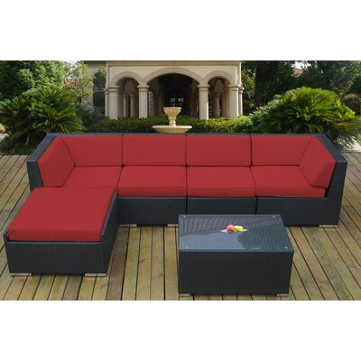 Ohana 6 Piece Deep Seating Group with Cushion Fabric: Sunbrella Jockey Red, Finish: Black