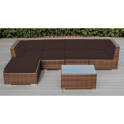 Ohana 6 Piece Deep Seating Group with Cushion Fabric: Subrella Bay Brown, Finish: Mixed Brown