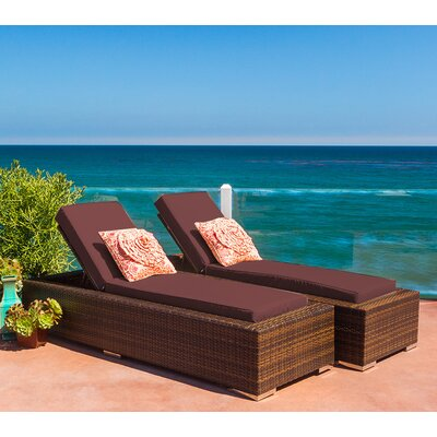 Ohana Chaise Lounge with Cushion Fabric: Brown