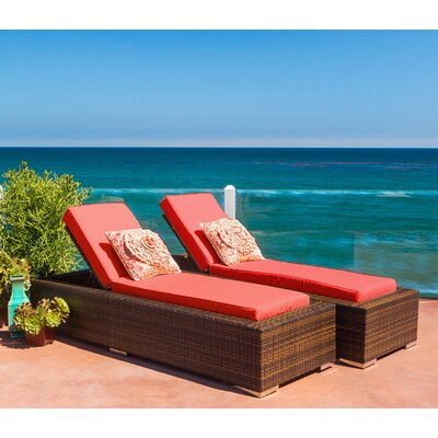Ohana Chaise Lounge with Cushion Fabric: Red