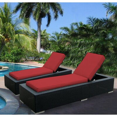 Madelynn Chaise Lounge Fabric: Sunbrella Jockey Red