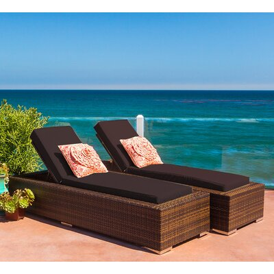 Ohana Chaise Lounge with Cushion Fabric: Sunbrella Bay Brown
