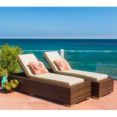 Ohana Double Chaise Lounge with Cushion Fabric: Sunbrella Antique Beige