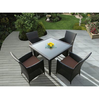 Ohana 5 Piece Dining Set Fabric: Brown