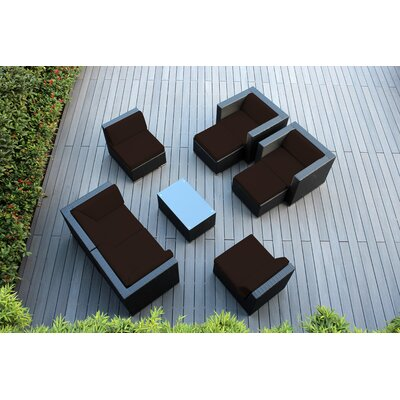 Ohana 9 Piece Deep Seating Group with Cushions Fabric: Sunbrella Bay Brown