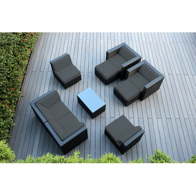 Ohana 9 Piece Deep Seating Group with Cushions Fabric: Dark Gray