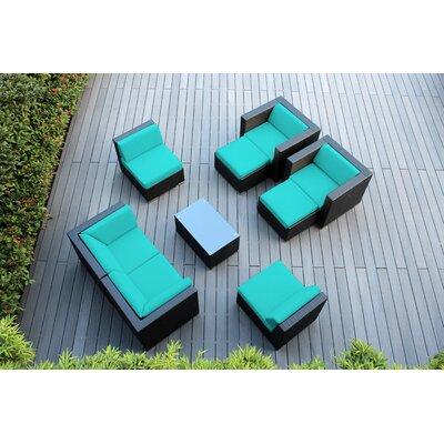 Ohana 9 Piece Deep Seating Group with Cushions Fabric: Turquoise