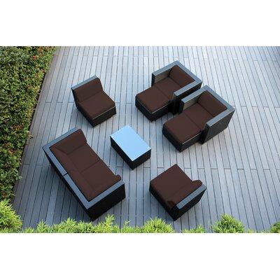 Ohana 9 Piece Deep Seating Group with Cushions Fabric: Brown