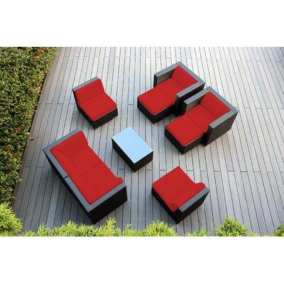 Ohana 9 Piece Deep Seating Group with Cushions Fabric: Red