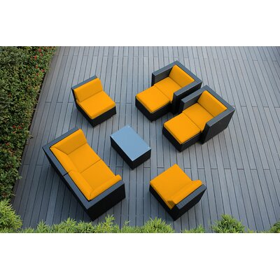 Ohana 9 Piece Deep Seating Group with Cushions Fabric: Sunbrella Sunflower Yellow