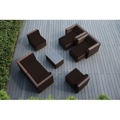 Ohana 9 Piece Deep Seating Group with Cushions Fabric: Sunbrella Bay Brown