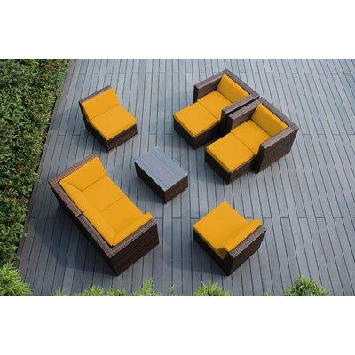 Ohana 9 Piece Deep Seating Group with Cushions Fabric: Sunbrella Sunflower Yellow