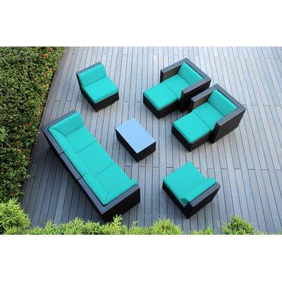 Ohana 10 Piece Deep Seating Group with Cushions Fabric: Turquoise
