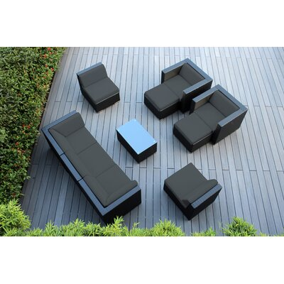 Ohana 10 Piece Deep Seating Group with Cushions Fabric: Dark Gray