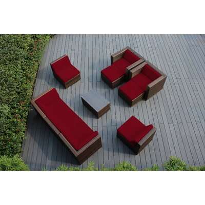 Ohana 10 Piece Deep Seating Group with Cushions Fabric: Red