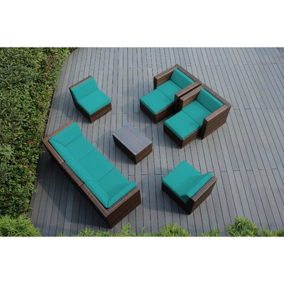 Ohana 10 Piece Deep Seating Group with Cushions Fabric: Turquoise