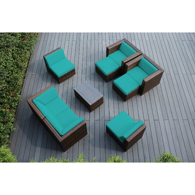 Ohana 9 Piece Deep Seating Group with Cushions Fabric: Turquoise