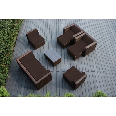 Ohana 9 Piece Deep Seating Group with Cushions Fabric: Brown