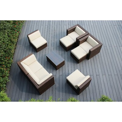 Ohana 9 Piece Deep Seating Group with Cushions Fabric: Beige