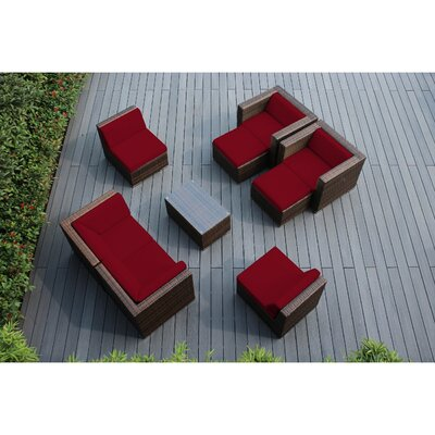 Ohana 9 Piece Deep Seating Group with Cushions Fabric: Red